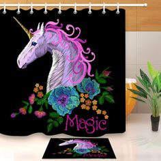 Abstract colored unicorn Shower Curtain Bathroom Decor Fabric /& 12hooks 71*71in