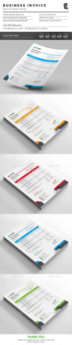 #Invoice - #Proposals & Invoices #Stationery Download here: https://graphicriver.net/item/invoice/18848063?ref=alena994
