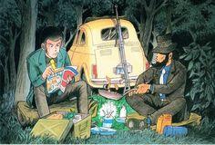 Tags: Miyazaki Hayao, Studio Ghibli, Lupin III, Rupan Sansei: Castle no Shiro, Arsene Lupin III, Jigen Daisuke, Camping, Official Art