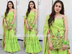 For the promotions of Kedarnath, Sara Ali Khan wore a parrot green embroidered sharara suit by Sukriti & Aakriti. Match ing bangles, gold juttis and partially pinned wavy hair rounded out her look! Gharara Designs, Kurti Designs Party Wear, Churidar Designs, Pakistani Dresses, Indian Dresses, Indian Outfits, Indian Attire, Indian Wear, Sarara Dress