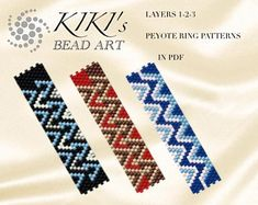 Pattern, peyote rings, Layers - peyote ring set of 3, patterns in PDF - instant download