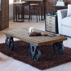 6 Creative And Inexpensive Cool Ideas: Industrial Desk Decor vintage industrial house. Coffee Table With Wheels, Iron Coffee Table, Rustic Coffee Tables, Cool Coffee Tables, Decorating Coffee Tables, Industrial Design Furniture, Vintage Industrial Furniture, Industrial Table, Rustic Furniture