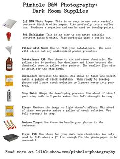 Printable Basic Dark Room Supply List (Pinhole Camera Series)