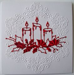 love the simple red candle die cut with the embossed white background Chrismas Cards, Christmas Cards 2017, Christmas Paper Crafts, Homemade Christmas Cards, Christmas Greeting Cards, Homemade Cards, Memory Box Cards, Making Greeting Cards, Winter Cards