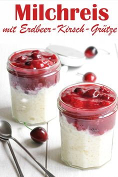 Lunch to Go: rice pudding with strawberry and cherry groats. - Lunch to Go: rice pudding with strawberry and cherry groats. Lunch to Go: rice pudding with strawbe - Strawberry Blueberry Smoothie, Fruit Smoothies, Smoothie Recipes, Essen To Go, Lunch To Go, Plant Based Protein, Food Items, Lunch Recipes, Easy Meals