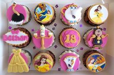 Disney Party ideas: Beauty & the Beast cupcakes Beauty And The Beast Cupcakes, Beauty And The Beast Party, Disney Beauty And The Beast, Disney Cupcakes, Cute Cupcakes, Disney Desserts, Beautiful Cakes, Amazing Cakes, Cupcake Toppers