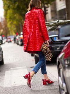 red mock croc & leo. #AnnetteWeber in Paris.