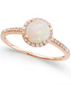 Opal (3/4 ct. t.w.) and Diamond (1/8 ct. t.w.) Ring in 14k Rose Gold