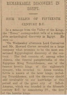 #Onthisday in 1922, Howard Carter & Lord Caernavon peeked into #Tutankhamun's Tomb and glimpsed the pharoah's treasure by candlelight. Here is a historical newspaper story that reports on this magical moment. Click on the link for the full article: http://blog.britishnewspaperarchive.co.uk/2013/11/25/tutankhamuns-tomb/