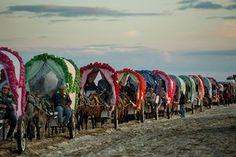Pilgrimage to El Rocío: caravans at sunset. Andalucía, Spain.