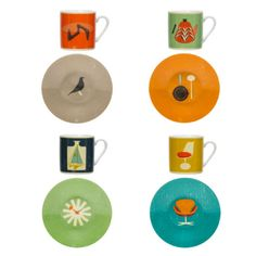 Magpie The Modern Home Espresso Set: Be transported back to the atomic era with the Modern Home range, with a colourful collection of mix and match homewares shows off 26 of the last century's most iconic designs illustrated in a beautiful vintage screen-print style.  -A must have for any discerning mid-century design lover! -The espresso set comes gift boxed and contains 4 cups and 4 matching saucers.