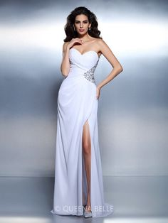 10bbe27987d92 A-Line Princess Sweetheart Sleeveless Beading Floor-Length Chiffon Dresses