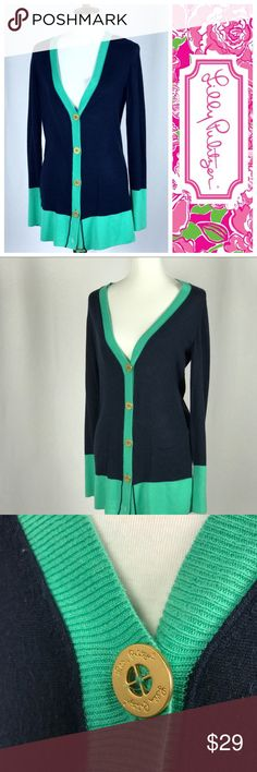 👗💐🔥 Lilly Pulitzer Cartigan Sweater Medium M Adorable lightly used Authentic Lilly sweater! Gold buttons dress up this pretty navy & green sweater! Bundle up with other things in my closet or make me an offer ❤️ Lilly Pulitzer Sweaters Cardigans