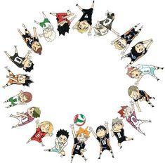 自動代替テキストはありません。 Bokuto Koutaro, Nishinoya, Kagehina, Kuroo, Kenma, Oikawa, Haikyuu Nekoma, Kawaii Chibi, Cute Chibi