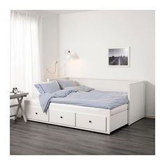 IKEA HEMNES Day-bed frame with 3 drawers White cm With some fluffy, soft pillows as back support, you easily transform this day-bed into a. Ikea Daybed, Daybed Room, Ikea Beds, Day Bed Ikea, Daybed Bedding, Bedding Sets, Cama Ikea Hemnes, Hemnes Ikea Bedroom, Bedroom Furniture