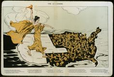 - American frontier - pro-suffrage cartoon by Hy Mayer, American, in Puck magazine 20 Feb Suffragist holds torch over Western states where women can vote beckoning the struggling women in East and South where they can not vote. Comparative Politics, Suffrage Movement, Right To Vote, Thing 1, American Frontier, Gilded Age, Library Of Congress, Women In History, Ancient History