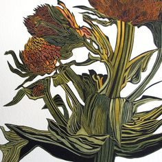Sea Holly linocut print in hand coloured by IreneHelenMacKenzie
