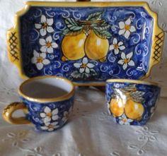 Servizio da caffè téte a téte in  ceramica.Decoro Limoni.