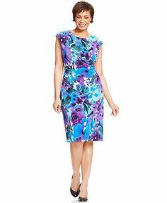Connected Plus Size Floral-Print Faux-Wrap Dress - Plus Size Dresses - Plus Sizes - Macy's