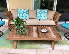 Reclaimed teak coffee table is unique and environmentally friendly!  #teak #teakfurniture #outdoorliving #patio #patiofurniture #teakwood #teakcoffeetable