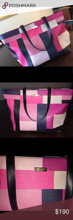 Kate Spade Color Block Party Purse💓 Gently used. 10/10 condition no stains or scrapes. This large tote purse will transform your outfit this spring! kate spade Bags Totes