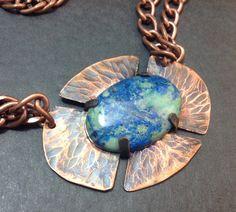 Stone Pendant Necklace, Statement Necklace,Tab Set Stone, Malachite Azurite Cab, Chain With Pendant, Copper Necklace, Rustic Boho Necklace,