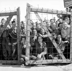 APR 16 1945 The first POW camp liberated – Fallingbostel - See more at: http://ww2today.com/POWs at Stalag 11B at Fallingbostel in Germany welcome their liberators.