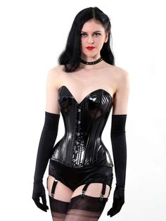 Black and very shiny PVC overbust Laurie corset. Our PVC Laurie corset is fully steel boned to cinch your waist by inches Lingerie For Sale, Retro Lingerie, Black Lingerie, Lingerie Models, Black Leather Corset, Bridal Corset, Fully Fashioned Stockings, Lace Tights, Waist Training Corset