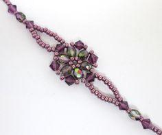Amethyst flower bracelet floral bracelet by AquaStudioDesigns - Bracelets Jewelry Beaded Jewelry Designs, Seed Bead Jewelry, Bracelet Designs, Handmade Jewelry, Handmade Bracelets, Jewelry Findings, Beaded Bracelets Tutorial, Beaded Bracelet Patterns, Beaded Necklace