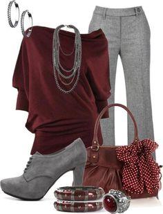 Burgundy and gray