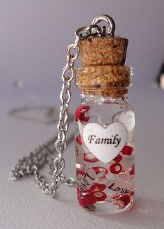 glass bottle necklace, name on rice necklace. $22.50, via Etsy.