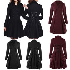 Gothic-Women-Stylish-Double-Breasted-Lace-Up-Trench-Coat-Dress-Overcoat-Jacket