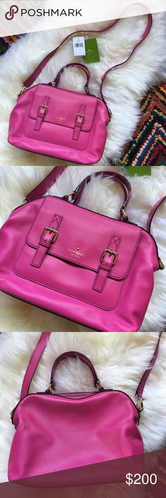 """Kate Spade NY Bag Bright, bold & beautiful, this fabulous Kate Spade bag in  the most stunning shade of Baja Rose is such a fun statement piece, sure to receive endless compliments. In excellent condition, only used once, clean inside & out. Measures roughly 12"""" wide & 9"""" tall with a detachable 42"""" cross body strap & lovely gold tone hardware. Comes with original price tag, care card & dust bag. kate spade Bags"""