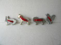 Vintage Animal Cookie Cutters Red Handles.