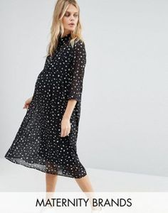 Mamalicious Spotty Woven Dress With 3/4 Sleeve
