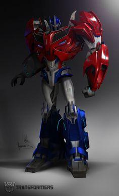 Optimus Prime - Transformers Prime Autobot designs by Augusto Barranco. Ironhide Transformers, Optimus Prime Transformers, Transformers Memes, Gundam, Nemesis Prime, Character Design, Concept Art, Film, Disney