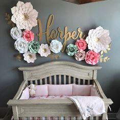 Nursery PAPER FLOWERS SET. Perfect for decorating a backdrop or wall. Blush pink/pinks/gold