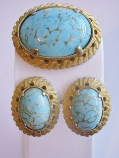 Vintage Weiss Set Faux Turquoise Brooch and by ToadSuckTreasures, $48.00