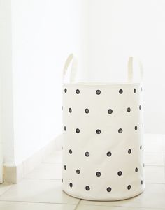 Laundry hamper. White, polka dots. Toy storage basket. Laundry room decor. Kids room, Baby nursery. Scandinavian home. Interior design. Styling. Handmade Etsy