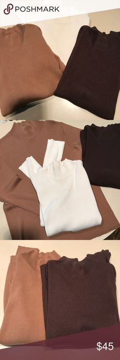 Three Coldwater Creek Mock Turtleneck Sweaters Please see photos for measurements. Off white was worn and will need to be cleaned/washed by purchaser. Brown and tan are NWOT. Coldwater Creek Sweaters Crew & Scoop Necks