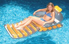 Swimline Inflatable Folding Chair Lounge Float For Swimming Pool Lake 9040 Pool Equipment Enclosure, Pool Equipment Cover, Swimming Pool Equipment, Pool Lounge Float, Pool Patio Furniture, Pool Supplies, Pool Floats, Cool Pools, Swimming Pools