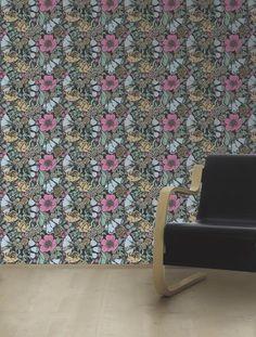 Marimekko Marimekko  Oodi Wallpaper Taupe/Cloudy Blue/Antique Pink/Blue-Black - KIITOSlife - 2