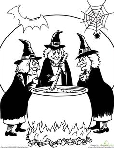 Worksheets: Toil and Trouble Coloring Page