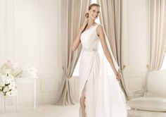 Charming A-line One Shoulder Beading Split Front Sweep/Brush Train Chiffon Wedding Dresses