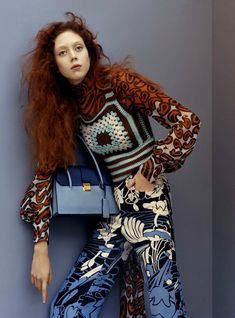 Miu Miu Resort 2015  I really love this outfit, its very unusual but that makes it look good, the colors and the prints really go together. The shirt and trousers have 2 different prints but the colour blue makes them match.