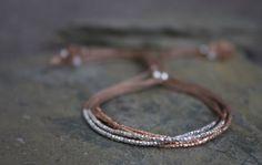 Tiny beaded friendship bracelet silk cord beaded by Oyeloria