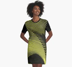 Yellow waves, line art, curves, abstract pattern 2 by cool-shirts