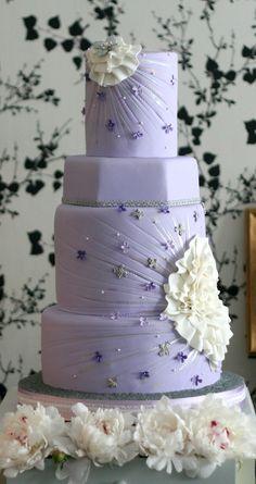 Lavender fondant wedding cake. Kaylee's wedding??? @brittanybohaychuk