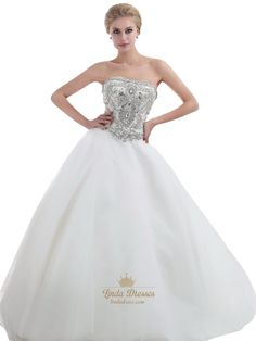 lindadress.com Offers High Quality Ivory Strapless Heavily Beaded Bodice Chapel Train Tulle Wedding Dresses,Priced At Only USD USD $260.00 (Free Shipping)