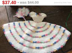 Holiday Sale Hand crocheted doll dress matching hat by EMTWTT